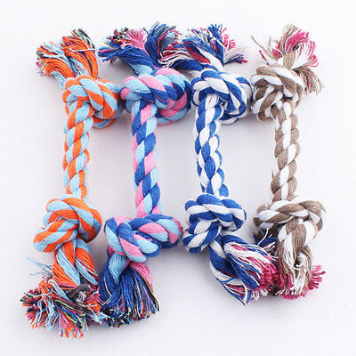 Pet Puppy Dog Cotton Knot Braided Multi color Teeth Clean Chew Toys Rope 1pc
