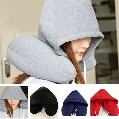 Hooded U-shaped Pillow Home Outdoor Travel Car Cushion Airplane Neck Protectors