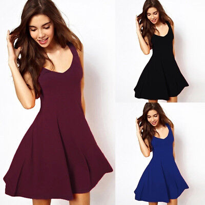 Women Summer Casual Sleeveless Evening Party Cocktail Beach Short Mini Dress Z