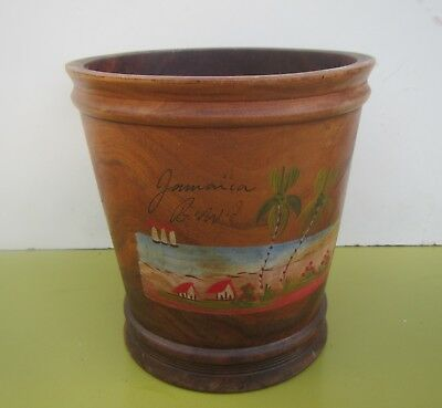 Vintage Wooden Hand Painted Flower Pot from Jamaica
