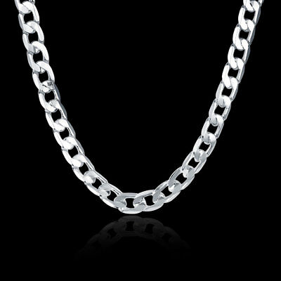 hot wholesale Sterling solid silver fashion jewelry Chain 12mm Necklace XLSN196