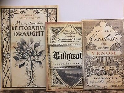 3 X Harry  Inspired   Large  Potion Label Set Authentic Tea Stained X 3
