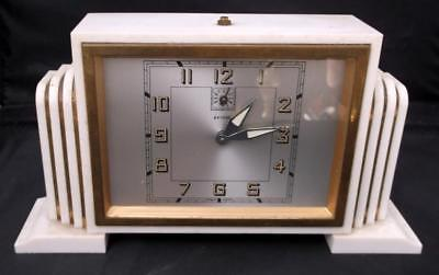 Stylish French Art Deco Bayard White Alarm Clock