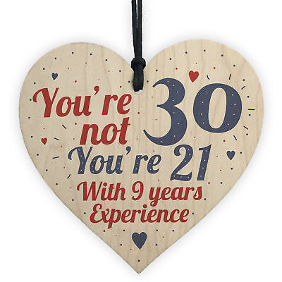 30th Birthday Gift Wood Heart Sign Novelty Gift For Friend Family Brother Sister