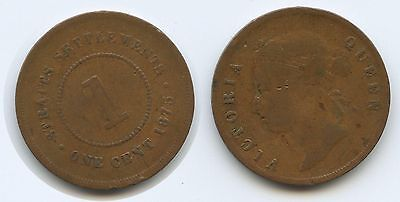 G6147 - Straits Settlements 1 Cent 1875 KM#9 Victoria Queen Malaysia