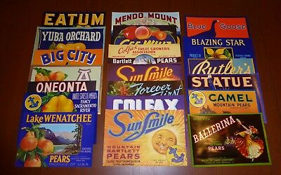20 Fruit Box Pear Crate Labels Vintage Lot Advertising Nos 1930S 1940S 50S 60