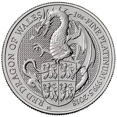 2018 U.K. 100 Pound 1 oz Platinum Queen's Beast BU The Dragon