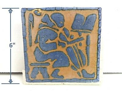 VERY RARE * Grueby Pottery Tile MONK w/ CHELLO Rare Colors 6x6 * (SAVE U FRAME)