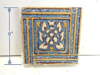 VERY RARE * Grueby Pottery Tile * BLUE w/PINEAPPLE * 6x6 * (#7564) *SAVE U FRAME