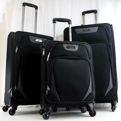 KENNETH COLE REACTION Going Places 3 Piece Spinner Luggage Set Black ... c5f40cb791f51