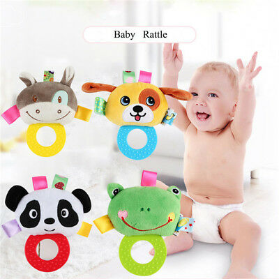 Animal Hand Bells baby Plush Rattles Infant Playmate Doll Teether Toy LD