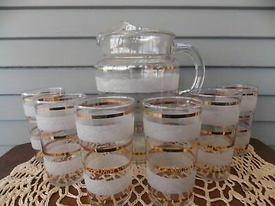 7 Pc Vintage Pitcher & 6 Clear Glass Tumblers with White Frosted & Gold Stripes