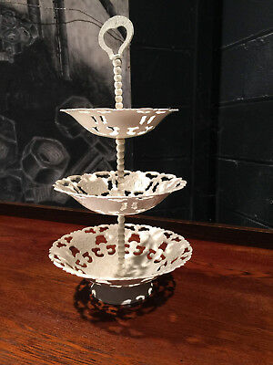 Free Delivery Vintage Tea Room Shabby Chic Metal Cake Stand 3 Tier Tea