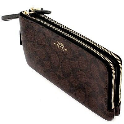 NWT Authentic Coach Signature Double Zip Wristlet Wallet Phone Case F16109 $175