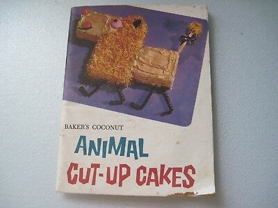 Vintage Used 1959 Baker's Coconut Animal Cut-Up Cakes recipe book 16 characters