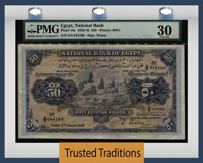 TT PK 15c 1942-45 EGYPT 50 EGYPTIAN POUNDS PMG 30 MOST IMPRESSIVE AND STUNNING !