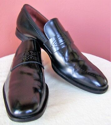 72d77e68b GUCCI Italy Men's Black Leather Perforated Saddle Strap Slip-On Loafers 12 D
