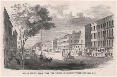 NEWARK, NEW JERSEY, BROAD STREET antique engraving original, MATTED 1855