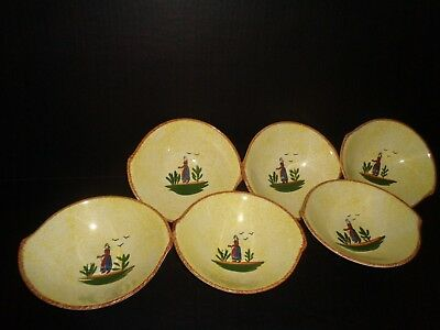BLUE RIDGE NORMANDY (6) Amazing  Skyline Shape BOWLS  USA