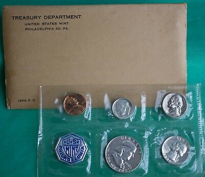 1956 US Annual 5 Coin Proof Set Silver Coins and Envelope with Franklin Half