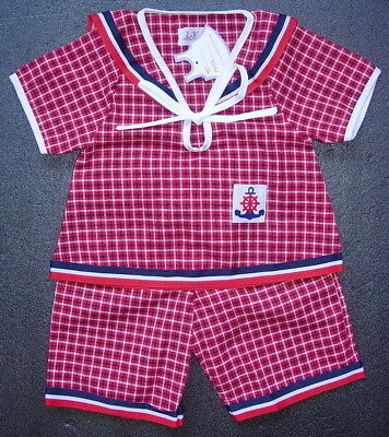 BABY BOYS OUTFIT Red Check Pattern Cotton Wedding Christening Pyjama Clothing