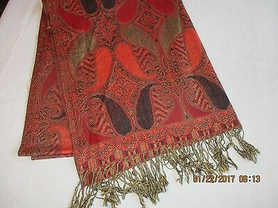 100% Pashmina Scarf or Shawl, 77 x 27.5 inches, Multicolors