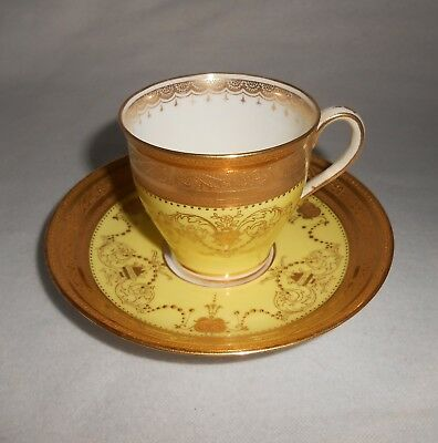 Antique Mintons For Tiffany Demitasse Cup(S) & Saucer(S) 1873-1912 Gold Yellow