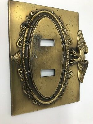 Vintage Brass Metal Double Light Wall Switch Cover-American Eagle Spread Wings