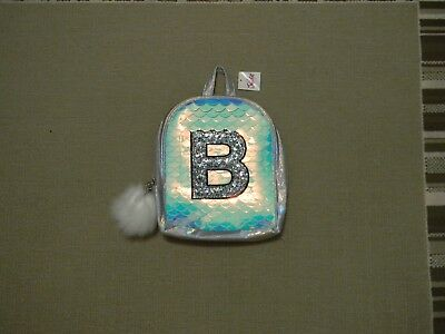 Nwt Justice Girls Initial B Mermaid Scale Mini Backpack