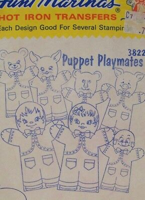 VTG Aunt Marthas 3822 Hand PUPPET PLAYMATES Embroidery Transfer Pattern UNCUT