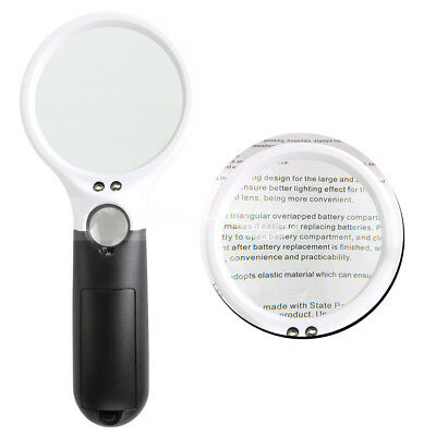 3 LED Lights 3X 45X Handheld Magnifier/Reading Magnifying Glass Jewelry Loupe 1x