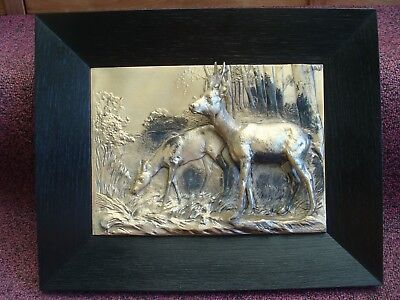 German Silver Wall Plaque/Sculpture 3D High Relief Buck & Doe LQQK!!