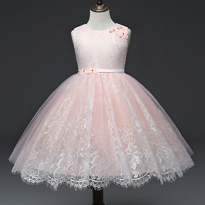 Flower Girl Dress Lace Princess Birthday Formal Holiday Party Size 2 3 4 5 6 7 8