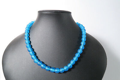 Pulverglasperlen 10mm Oceanblue Ghana Recycling Powder Glass Beads Krobo Afrozip