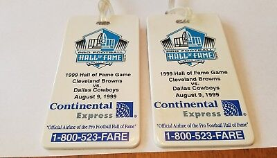 Lot of 2 1999 Continental Airlines Football HOF Cleveland vs Dallas Luggage Tags