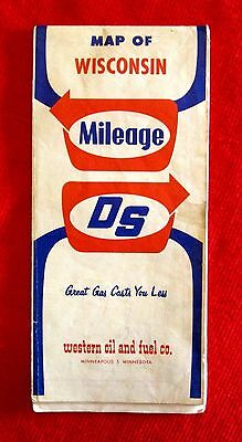Western Oil and Fuel Company Map of Wisconsin Mileage DS 1962 gmc1