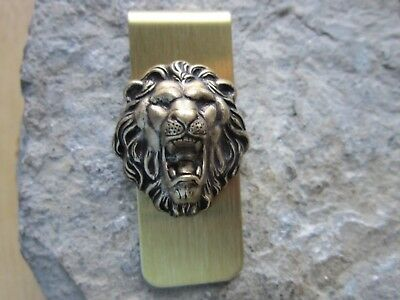 Bronze Lion Gold Plated Brass Money Clip - Father's Day - Africa -Lion's Head, 1