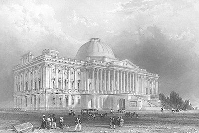 Washington DC UNITED STATES CAPITOL BUILDING HILL ~ Old 1839 Art Print Engraving