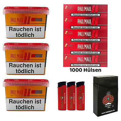 3 x Pall Mall Allround Mega Box Tabak à 185g, Authentic. Hülsen, Feuerz., Box