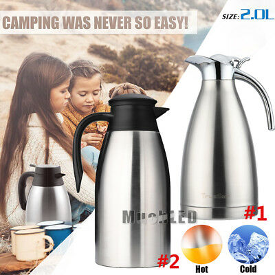 2L Thermal Coffee Carafe Vacuum Insulated Pot Hot Water 304 Stainless Steel Pot