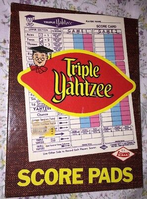 Vintage Triple Yahtzee Score Pads Set 100 Sheets 1972 E.S. Lowe Dice Board Game