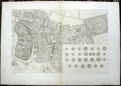 84 ~ ROME ROMAN FORUM PLAN LAYOUT DESIGN ~ 1910 D'ESPOUY Architecture Art Print