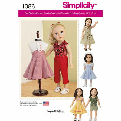 New Simplicity 1086 Pattern 18 American Girl Doll Vintage Clothes