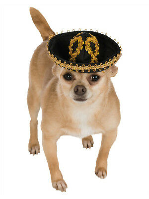 Black Gold Mexican Cinco De Mayo Day of the Dead Sombrero Hat For Pet Dog