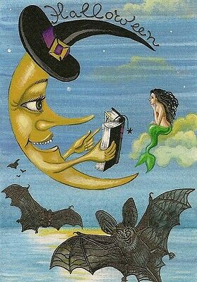 1.5x2 DOLLHOUSE MINIATURE PRINT OF PAINTING RYTA 1:12 SCALE HALLOWEEN BATS WITCH