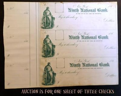 Old Orig Antique 1860s Uncut Sheet of 3 Civil War Era New York City Bank Checks