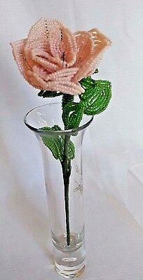 """XLg Pearl pink Rose 10"""" Vintage Long Stem French Glass Hand Beaded WireFlower #C"""