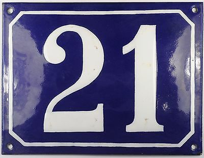 Large old blue French house number 21 door gate plate plaque enamel steel sign