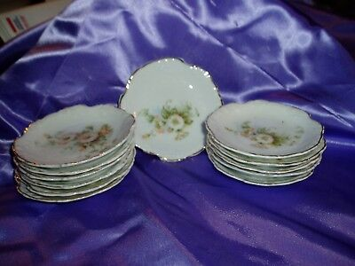 Vintage ELEGANTINE Set of 12 Fine China BUTTER PATS Marked Germany w/Trademark