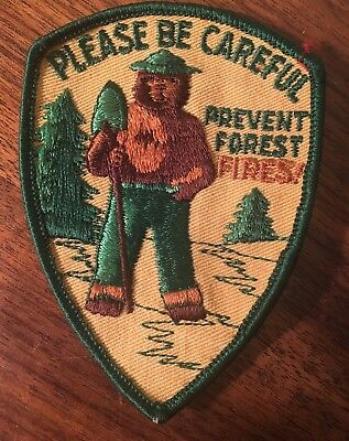VINTAGE BOY SCOUT PATCH -Smokey Bear Please Be Careful  Prevent Forest Fires